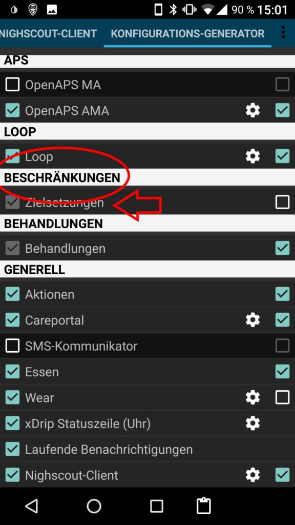 aaps config builder zielsetzungen (objectives)